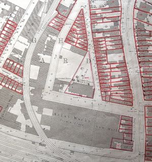 With permission of Gloucestershire Archives D2428/3 map showing numbered properties round Atlas Works | Anthea Jones