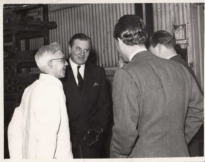 From left to right: George Jackson (in white coat), Jim Fielding, and Mark Phillips (others are unidentified) | Gloucestershire Archives: D8489/3/1/51