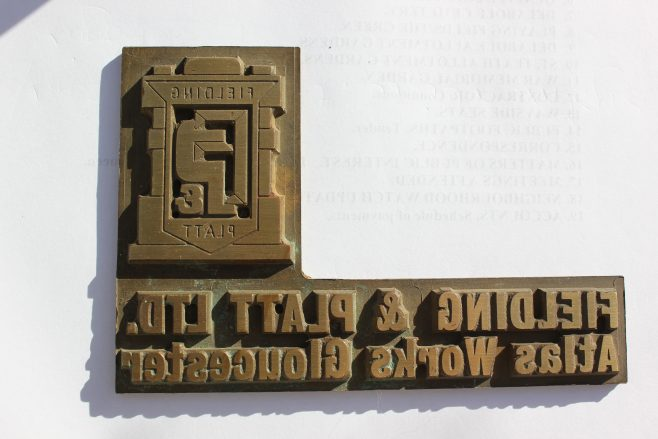'Fielding & Platt Ltd' Printing Block, with the logo of the time! | Kindly supplied by Graham Aston
