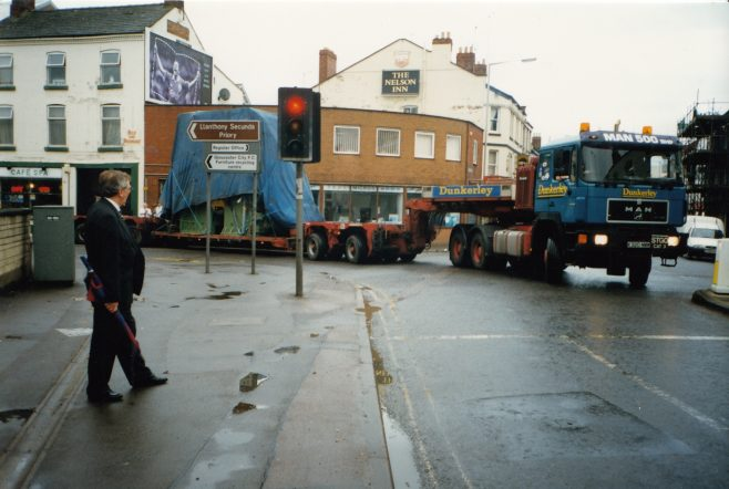 JB111 Turning into the Bristol Road, Roger Beard in the foreground! | Supplied by John Bancroft