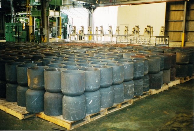 JB261  Stacks of steel cups from the cupping press | Supplied by John Bancroft