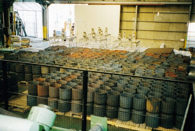 JB262  Stacks of steel cups from the cupping press | Supplied by John Bancroft