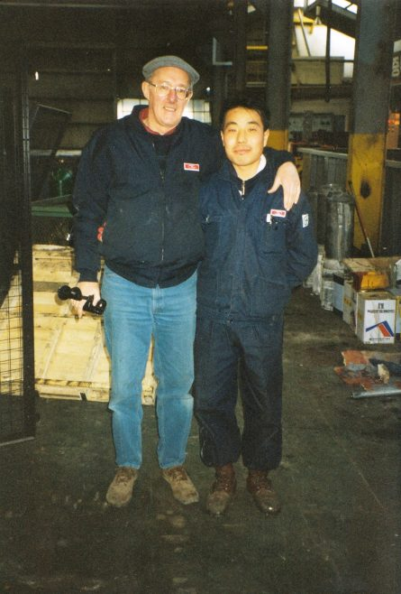 JB263  Ray Short (MD of Heliform Processes Ltd.) with NK Gas Cylinder engineer! | Supplied by John Bancroft