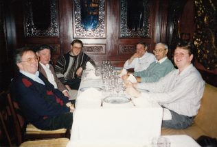 The 'team' at the start of a celebration meal near the end of the visit. L-R: Roger Beard (F&P); Sam Edwards (Edwards Handling Gear); Chris Eames? (Mechatherm); George Claridge (F&P); ?? (?); ?? (Galvasol?) | Photograph by John Bancroft