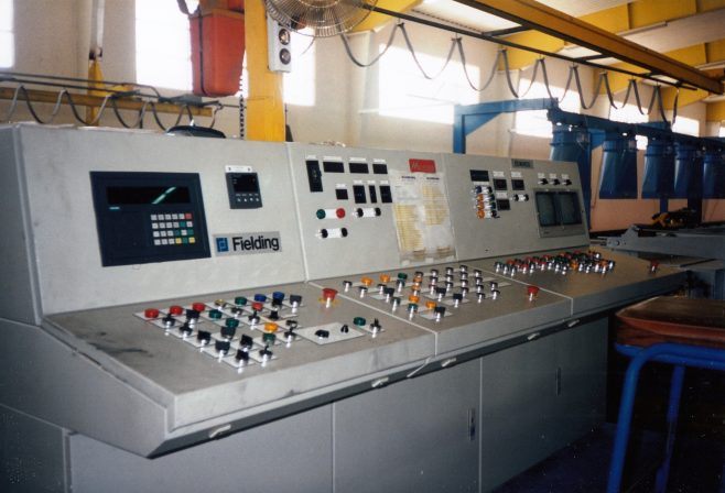 JB354  'Fielding' press console (left), Mechatherm log heater console (centre), 'Edwards' console (right)   Supplied by John Bancroft