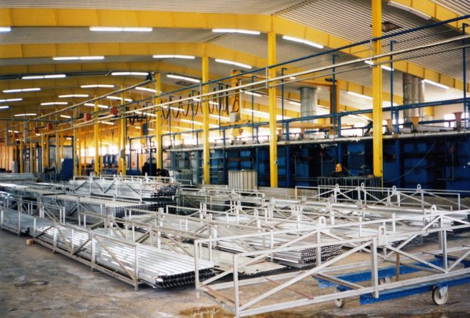 JB396  Storage area for finished profiles (later used for another larger extrusion press) | Supplied by John Bancroft
