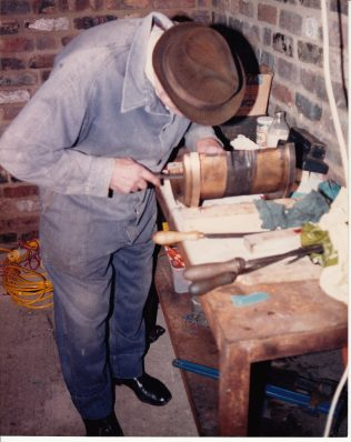 Jack Hobbs, scraping a main bearing in the 1980's.   Photo from Geoff Hobbs.