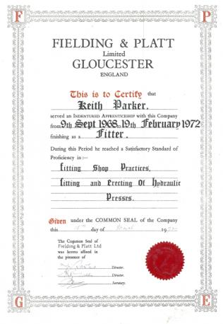 Indentures Certificate
