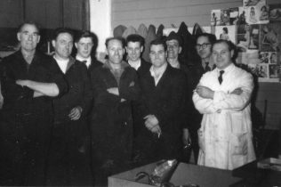 The Maintenance 'Gang' from the left, ? ; Henry Savage; Dave Moore; Arthur Apperley; Norman Bidmead; Don Keyse; ? ; ? ; Monty Blunt (Foreman)
