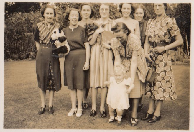 Office girls and Miss Walton (right) with Ruth Fielding and Pippa (front), c.1939