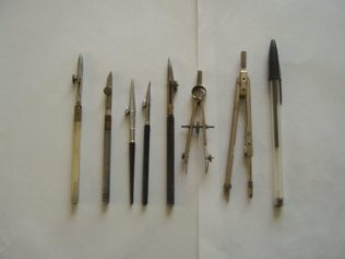Joy's tracing instruments with a modern biro on the right to show the scale.