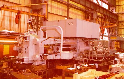 16MN Horizontal Extrusion Press, views taken at erection and on a low loader ready for despatch, O/No. E92400, c.1978