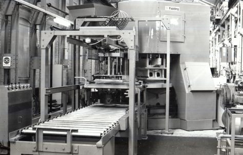 Three Mould Concrete Press with Dispenser and Take-off, c.1970s