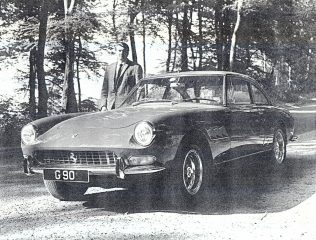 PR0129  This Ferrari 330GT model was one of only six in the UK at the time. Taken late 1960s near Birdlip on the B4070 with Pete Skelton alongside. Lucky boy!! | The Paul Regester Collection