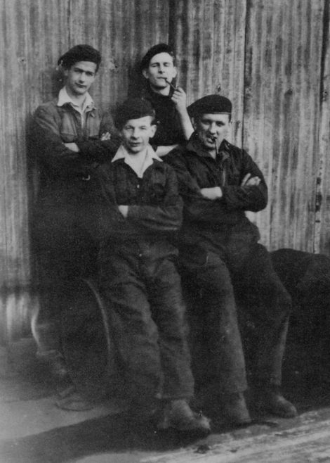 Back row, Roger Langston, Dave Moore?. Front row, Alfie Russell, Henry Savage.
