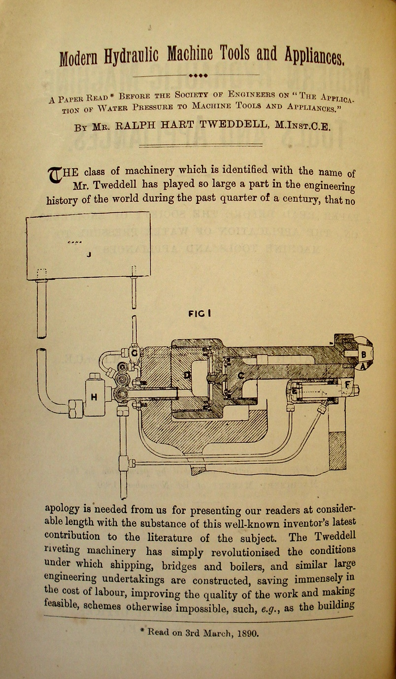 Modern Hydraulic Machine Tools And Appliances Ralph Hart Tweddell