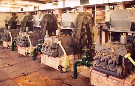 H3 Pumps with overhead mounted motors, views taken on site, O/No. 63372, c.1964