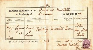Samuel Fielding's baptism certificate | Courtesy of Phillipa Edwards