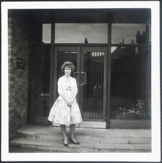 Joy at the front door to Fielding & Platt in 1961