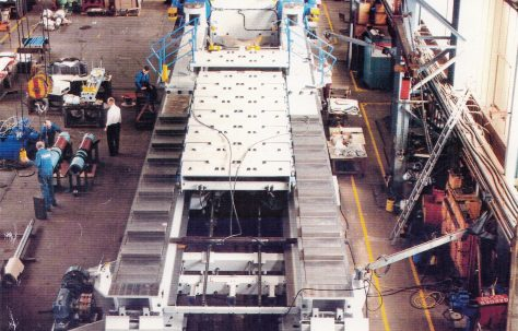 18MN Aluminium Plate Stretching Machine, views taken under construction and on site, O/No. 507-65470, c.1992